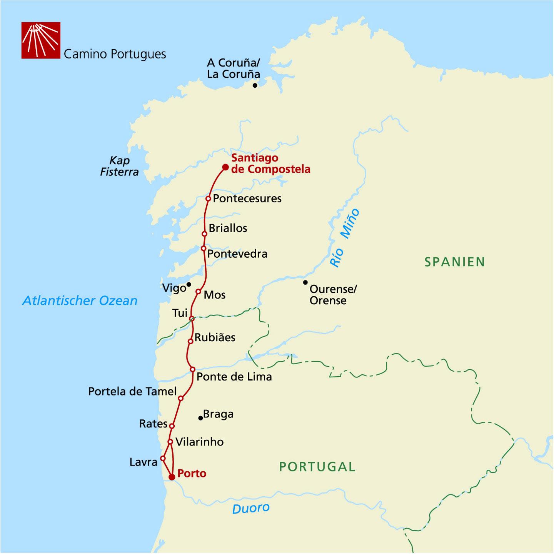 Camino Portugues Karte.Jakobsweg Caminho Português Individuell Wandern Von Porto Nach