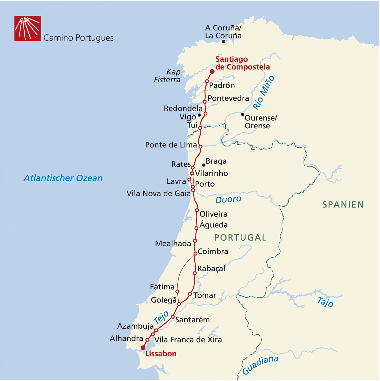 Camino Portugues Karte.Jakobsweg Caminho Português Von Lissabon Nach Porto Individuell
