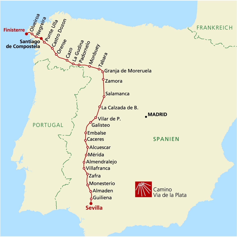 Salamanca Spanien Karte.Via De La Plata 2 Etappe Von Cáceres Nach Salamanca Individuell