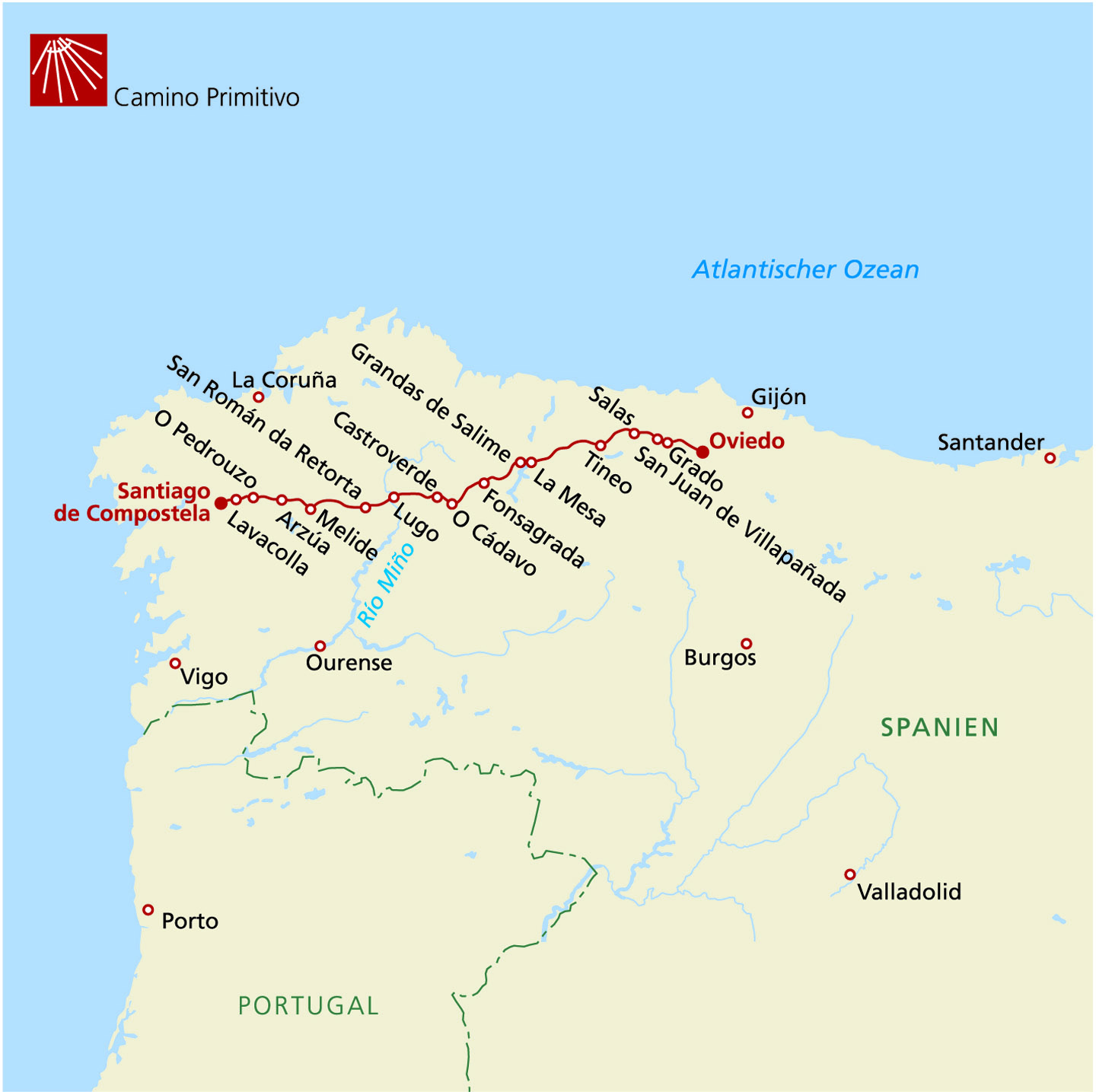 Jakobsweg Franken Karte.Camino Primitivo Gesamtstrecke Individuell Wandern Auf Dem