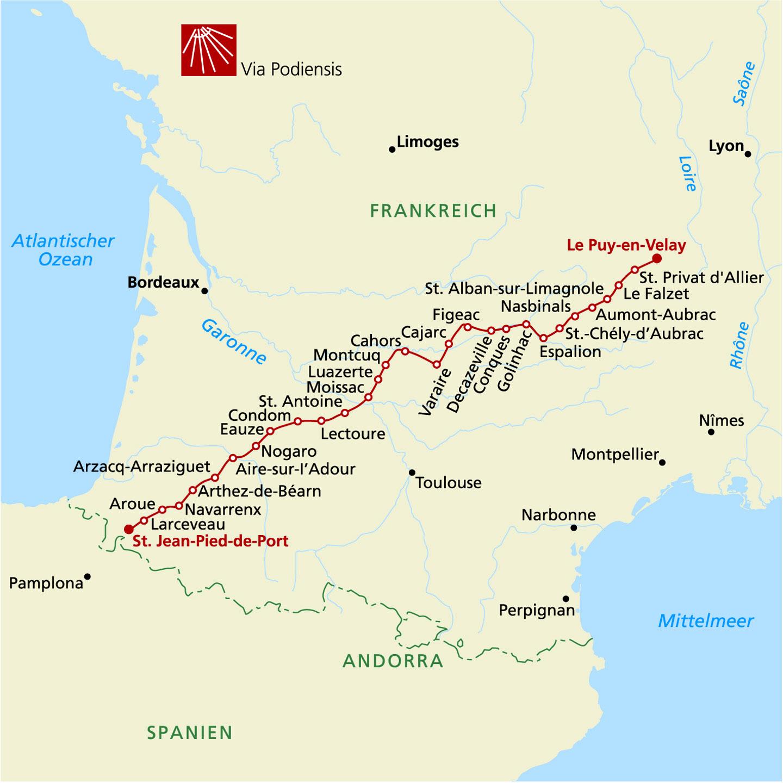 Jakobsweg Frankreich Spanien Karte.Jakobsweg In Frankreich Via Podiensis Wandern 3 Etappe