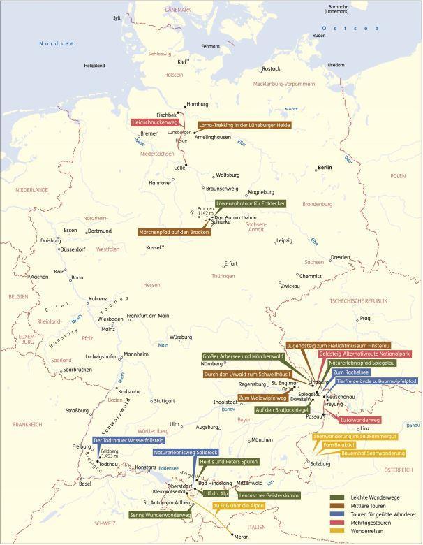 Karte Zwei Dutzend Routen-Vorschläge
